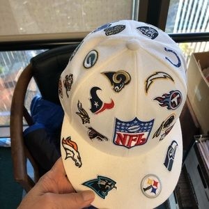 NFL hat with patches of all teams